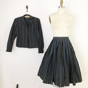 50s Two Piece Skirt & Jacket Set Stripes N1008
